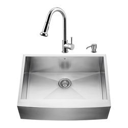 """VIGO Industries - VIGO All in One 30-inch Farmhouse Stainless Steel Kitchen Sink and Chrome Faucet - Breathe new life into your kitchen with a VIGO All in One Kitchen Set featuring a 30"""" Farmhouse - Apron Front kitchen sink, faucet, soap dispenser, matching bottom grid and sink strainer."""