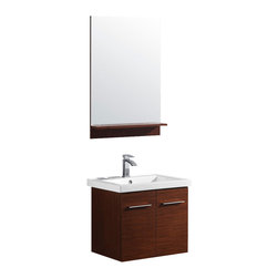 Vigo - 24in.  Amber Single Bathroom Vanity with Mirror - The VIGO Amber is a wall mounted contemporary style vanity in a wenge finish. This square vanity features a white, ceramic sink and a matching wood-rimmed mirror with matching shelf on lower edge.