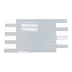 """GL STONE - Super White Glossy Subway Glass Tile 2""""x12"""", ( 1 Carton / 30 Sheets/ 5 Sq Ft ) - The super white subway shaped glass mosaic tile Its stunning design and popular pattern will bring warmth and a classic ambiance to your interior decor. The mesh backing not only simplifies installation, it also allows the tiles to be separated which adds to their design flexibility. Each sheet measures 2.0"""" x 12.0"""". This glass wall tiles are perfect for any interior or exterior projects such as kitchen backsplash, bathroom wall, shower surround, dining room, entryway, etc."""