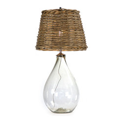 Kathy Kuo Home - Panier French Cottage Large Glass Rustic Basket Shade Table Lamp - S - After seeing the cozy light thrown by this French cottage basket table lamp, you'll never go back to a plain fabric lamp shade again. With a clear glass base that contrasts beautifully with the rustic country style of the shade, this Panier light is the perfect unique touch you've been searching for.
