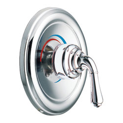 """Moen - Moen T2442 Chrome Posi-Temp Valve Trim, One-Function Pressure Balanced Cartridge - Moen T2442 is part of the Monticello bath collection. Moen T2442 is a new bathroom decor style by Moen. Moen T2442 has a Chrome finish. Moen T2442 Posi-Temp valve only trim fits any MPact common valve system or MPact Posi-Temp 1/2"""" valve available separately. Moen T2442 is part of the Monticello bath collection with its simple beauty and elegant lines this collection brings a timeless design into any homes decor. Moen T2442 valve trim includes single-function pressure balancing Cartridge. Moen T2442 is a single handle valve trim only, the handle adjusts temperature. Moen T2442 valve only single handle trim provides for ease of operation. Moen T2442 Posi-Temp pressure balancing valve maintains water pressure and controls temperature. Moen T2442 is approved by ADA. Chrome is a proven finish from Moen and provides style and durability. Moen T2442 metal lever handle meets all requirements ofADA ICC/ANSI A117.1 and ASME A112.18.1/CSA B-125.1. Lifetime Limited Warranty."""