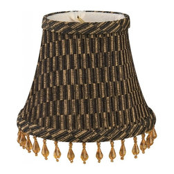 """""""Royal Designs, Inc"""" - 5"""" Black/Gold/Brown Beaded Bell Chandelier Lampshade - """"This 5"""" Black/Gold/Brown Beaded Bell Chandelier Lampshade is a part of Royal Designs, Inc. Timeless Chandelier Shade Collection and is perfect for anyone who is looking for a simple yet stunning lampshade. Royal Designs has been in the lampshade business since 1993 with their multiple shade lines that exemplify handcrafted quality and value."""