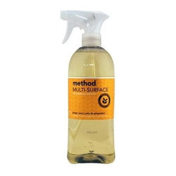 Method Products All Purpose Cleaner - Ginger Yu - Case Of 8 - 28 Oz - Fresh scented multi-surface spray is safe on most surfaces in your home, non-toxic and effective, all while smelling great. The formula is biodegradable and the bottle is 100% recycled plastic. Method Cleanings' naturally derived products give you a clean feeling that's safe for you and safe for the environment. Products are non-toxic and made from renewable and/or abundant natural resources. Great ginger-yuzu scent!