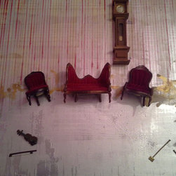 Jane CoCo Cowles - The Abandoned Parlour - Sculptural mixed media encaustic painting on wood panel.