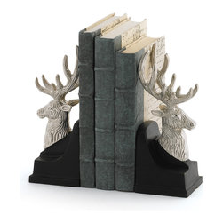 Stag Guardian Bookends - These bookends have all the elegance of a stag in the wild. Use them to flank your favorite hardcover volumes- they are of beautiful construction, and sure to last  for years to come as an enduring heirloom piece. Beautiful when paired with beeswax candles, these bookends are a year-round piece.