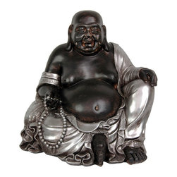 "Oriental Unlimted - 11.5 in. Happy Buddha - Lucky Buddha is known to the Japanese as ""Hotei"" and to the Chinese as ""Budai"". An East Asian folk deity thought to be based on a 10th century Zen monk. Sitting Happy Buddha statues are thought to encourage happiness to ""sit"" in the household. This is one of the largest of the cast resin sitting Happy Buddha statues we offer, also the heaviest. At almost a foot tall and a foot wide, this is a large work of distinctive, beautiful, craftsmanship. Cast from high quality heavy resin. With an outstanding, unique 2 tone silver and black finish. 12 in. W x 9 in. D x 11.5 in. HIn ancient Asian tradition, Hotei or Budai was part of country folk lore, not main stream Buddhism or Zen Buddhist teachings. He is not portrayed in traditional Buddhist art or artwork. His depictions are more commonly part of a village shrine, bringing goodness and contentment, bestowing happiness and prosperity. A statue of this size is a significant, substantial gift, a great gift for the person who does not have or want everything."