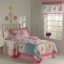 None - Flurry of Butterflies 3-piece Quilt Set - Add charm to your girl's room with this butterfly quilt set. Made from 100-percent cotton with a polyester fill, this pink, blue, green, and lavender quilt set includes one quilt and two shams. It comes in twin, full and queen sizes for every bed.