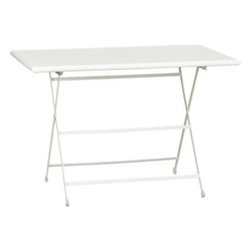Pronto Large White Folding Bistro Table - I love this table because it folds easily for storage, and it can be moved under a tree or to a different location for a fun impromptu picnic. I don't recommend leaving it out in the elements, but it should be fine in a covered area. One of my folding metal tables sits down by the creek at the ranch. It requires a hike through the woods to get there, but that's part of the fun. It always feels like an adventure.