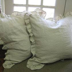 Ruffled Shams, Washed Oatmeal Linen by Cottage and Cabin Interiors - I am thinking about getting these beauties to replace the cushions on my couch. They would also be perfect for making a bed comfy and cozy, no?