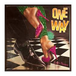 """Glittered One Way Album - Glittered record album. Album is framed in a black 12x12"""" square frame with front and back cover and clips holding the record in place on the back. Album covers are original vintage covers."""