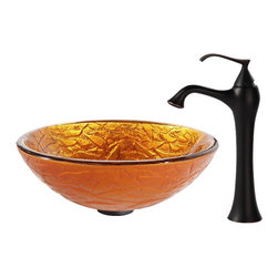 Kraus - Kraus Blaze Glass Vessel Sink and Ventus Faucet Oil Rubbed Bronze - *Inspired by the crisp texture and warm colors of autumn foliage, the Blaze sink shines with an energetic orange-gold hue. Pair it with the soft curves of the classically inspired Ventus faucet in oil-rubbed bronze for a stylish note of vintage flair