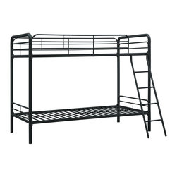 DHP - DHP Twin over Twin Metal Bunk Bed - Easy to assemble,this bunk bed has been designed for the utmost safety,providing full-length guardrails and a ladder that attaches to the frame. Accommodating two twin mattresses,the metal frame will last through years of rough play.