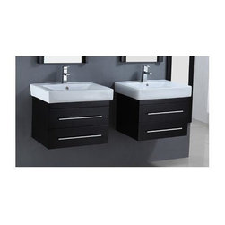 Legion Furniture - 24 in. Solid Wood Vanity Cabinet in Espresso Finish - Set of 2 - Set of 2 Vanities with Sinks. Faucet not included. Measurement tolerance: (+/- 0.25 in.). Pre-drilled with one hole one slot faucet. Two functional drawers. White ceramic top and sink. Made from wood. Assembly required. 24 in. W x 19.3 in. D x 34 in. HOur most popular piece comes in pint size! Perfect for smaller space. Clean lines and simple geometric shape with warm espresso finish, provides the modern feel with warm tone. The oversized ceramic sinks and wall mount floating cabinet with drawers complete your bathroom with the form and function that every bathroom need.