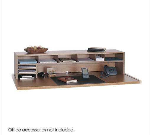 """Safco - Safco 58""""W Low Profile Desk Top Organizer in Medium Oak - Safco - Desktop Organizers - 3671MO - This low profile multi-shelf desk top organizer can create order out of a constantly cluttered desktop and at only 12"""" in height will not obstruct your view. Fully adjustable shelves and dividers allow users to create a customized work center and pair with a single full-width shelf and top to provide more than ample storage capacity. This organizer also features five 3-3/4"""" shelf dividers that adjust in 5"""" increments and two letter-size literature trays that can be mounted on the left and right-hand side."""