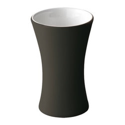 Gedy - Rounded Ceramic Pottery Toothbrush Holder, Soft Touch Anthracite - If you are in need of a toothbrush holder/tumbler, why not consider this luxurious toothbrush holder from the Gedy Mughetto collection? Perfect for more modern & contemporary settings, this quality toothbrush holder is free stand and finished in moka, ruby red, anthracite, white, blue, or orange.
