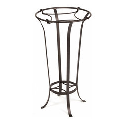 Achla - Roman Bronze Solid Iron Planter Stand - This regal roman bronze plant stand is crafted of iron and powdercoated for long lasting beauty.  The elegant design flares out to a top that will hold generously sized planters of your choice, to create a stunning focal or accent piece for your rooms or patio.  The base is a perfect place for trailing vines to cling and create a living sculpture.  Tall and striking, this indoor and outdoor pedestal plant stand features a top holding bracket to make your exquisite plant appear buoyant and airy, or you can utilize its lower bracket to display two plants at once.  Aside from its elegant and lithe design, a Roman Bronze powder coat finish brings a touch of striking charisma. * Iron. Roman Bronze Powdercoat finish. 15.5 in. Dia. X 28 H in.
