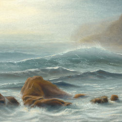 The Next Big Wave - This one of a kind, original seascape oil painting was painted on a 12×16 acid-free, triple-primed cotton gallery-wrapped canvas using Holbein oil paints.  The edges of the canvas are painted, so the painting can be hung as is or it can be framed.  Would look great in the home or office!