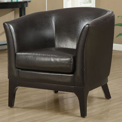 "Monarch - Dark Brown Leather-Look Accent Chair - Whether standing alone or used to accent a full living room ensemble, this chair will bring optimal comfort and exceptional style to your home. Designed with a round back that connects with its gently flared track arms for a unique barrel shape, this accent chair has a sleek yet gentle contemporary style that will stand out in any room. Raised on slender wood legs and draped in a rich dark brown leather-look upholstery, this chair's chic modern vibe is only further emphasized. Gentle to the eye and to the touch, this chair is stuffed with a plush box-faced seat cushion for soft support you will be just dying to sink into.;Features: Color: Brown;Weight: 48 lbs.;Dimensions: 30.75""L x 31""W x 31.5""H"