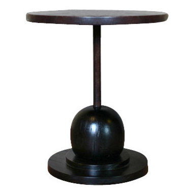 Pfeifer Studio - Montgomery Side Table - A chocolate brown leather top and Margosa wood base combine splendidly to create this unusual side table. The rich, dark coloring and memorable shape make this side table a centerpiece more than an accent. You can choose an ecofriendly or oil and urethane finish.