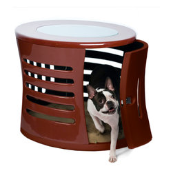 DenHaus - ZenHaus Small Red Pet Den - - Handcrafted by artisans in polished fiberglass, this designer dog den is topped with opaque, shatterproof glass that brings in the light and features a swing door that can be removed. - Fiberglass means that our ZenHaus Dens are extremely durable and light. - Hand-crafted means each ZenHaus Den is unique and well-made. - Multiple vents on all sides provide excellent ventilation and a 360 degree view for your companion inside.- *Good to know: Since each and every ZenHaus is handmade, there are slight differences, or irregularities, in each one.- Weight: 30 lbs.
