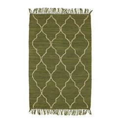 Homespice Décor - 4' x 6' Trellis Avocado - Avocado is accented with tan hand-loomed jute.  Do not machine wash. Use mild soap and cold water for minor spills and stains. Professional rug cleaning recommended. Remove from floor if wet to avoid color transfer. See Warranty for other care recommendations.