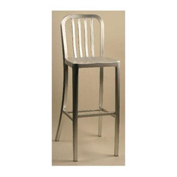 Alston - Brushed Aluminum Bar Stool w Rail Back & Mold - Choose height: 30 in. Bar HeightThis tall brushed aluminum dining stool lets you sit up and take notice of everything going on around you. The rounded corners along the slatted back and molded seating soften the lines of this contemporary chair. This piece is perfect for any home or restaurant setting. * Brushed aluminum stool. Comfortable molded seat. Sleek and modern. Adds a sophisticated elegance to your indoor or outdoor dining area. Lightweight and durable. Comfortable molded seat. Weight limit is 280 lbs.. 15.25 in. W x 15 in. D x 45.5 in. H (18 lbs.)