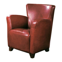 Monarch Specialties - Monarch Specialties I 8068 Red Leather-Look Club Chair - With its high back and curvaceous frame, the Europa accent chair will be a stylish addition to any room in your home. A sinuous spring base and curved seat back provide supportive comfort, while bold track arms and a deep, slightly scooped seat surround you in modern style. Tapered block style wooden feet anchor the base of the chair and is offered in your choice of dark brown, wine red, ivory or bold black leather look material. Accent Chair (1)