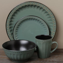 Tabletops Unlimited - Tabletops Unlimited Beads Green 16-piece Dinnerware Set - Add a stylish touch to your table with this 16-piece dinnerware set from Tabletops Unlimited. A lovely stoneware construction with a green design highlight this dinnerware set.