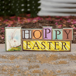 Your Heart's Delight - 'Hoppy Easter' Block Set - Put a little spring in the decor's step with this sweet, glittering sign. �� Includes seven blocks Assembled: 11'' W x 4.5'' H Medium-density fiberboard Imported