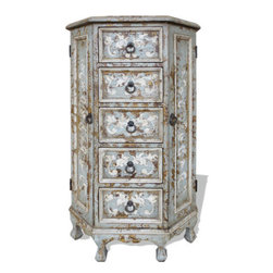 Koenig Collecion - Old World Tall Vanity Cabinet, Celeste Distressed - Tall Vanity Cabinet, Celeste Distressed with Amarylllis and Scrolls