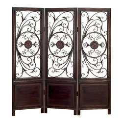 Aspire - Room Divider with Elegant Metal Designs - This beautiful room divider makes a great addition to any home or office. The floral metal accents are lively and add an elegant touch to the wooden panels. Finished in cherry-brown. Wood and metal. Color/Finish: Cherry-brown. 66 in. H x 63 in. W x 1 in. D. Weight: 42 lbs.