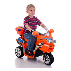 Lil Rider - Lil Rider FX 3 Wheel Motorcycle Bike Battery Powered Riding Toy - Orange Multico - Shop for Tricycles and Riding Toys from Hayneedle.com! Built tough for use on grass and pavement the Lil Rider FX 3 Wheel Battery Powered Bike - Orange is a blast to ride with fun sound effects and headlights that really turn on and off. It runs in forward and reverse gears for parallel parking dramatic chases and great getaways. Its 6V battery includes a charger that plugs into a 110V wall outlet. Requires adult supervision. Keep children away from roads and moving vehicles.