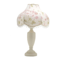 Oyster Margaux Candle Lamp - Oyster Octavia candle lamp. Clear glass beads accent this beautiful floral shade.