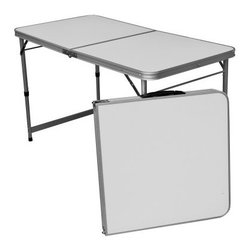 Slim Jim Aluminum Folding Table - Perfect for barbecues or camping, the Slim Jim Aluminum Folding Table delivers stable performance in a lightweight, compact-folding package. Built from durable aluminum, this table has a white top and a carry handle for easy transport.