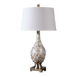 Uttermost Madre Mosaic Tile Lamp - Mosaic tiles of mother of pearl accented with brushed aluminum accents. Mosaic tiles of mother of pearl accented with brushed aluminum accents. The round, slightly tapered hardback shade is a white linen fabric.