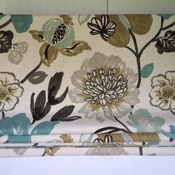watercolor floral roman shade -