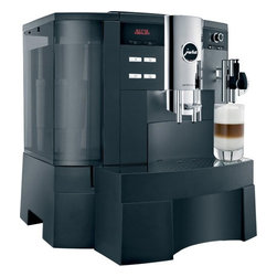 Jura-Capresso - Jura-Capresso Impressa XS90 One Touch Automatic Coffee Center - MDB-compatible: Provides the option of integrating all standard MDB accouting systems to meet all your requirements.Daily capacity - 60 cups: Recommended average daily requirement. One or two cups of espresso in one brewing operation: In one brewing operation you can prepare one or two cups of espresso. Cup tray: Directly on the machine. The easy way to save space! Multilingual dialogue display - 7 languages: User-friendly plain text instructions with wasy-to-understand graphics. Programmable water hardness: For descaling the machine in good time (when CLARIS is not used).Variable brewing unit - 5g-16g: For individual coffee strength and preparation of two cups in just one brewing operation.Intelligent Pre-Brew Aroma System (I.P.B.A.S.): To allow the coffee aroma to develop to the full.Powder recognition for additional ground coffee variety: Product is dispensed immediately after filling with the coffee powder.Hot water function: Adds to the range of hot beverages.Cappuccino frother: For exciting drinks like latte macchiato and cappuccino.Connector System: For the use of various cappuccino frothers and water nozzles.Height-adjustable coffee spout: For ultimate crema quality in the cup of your choice.Multi-level conical grinder: For a constant grinding result and a full aroma.CLARIS filter cartridge - Claris White: Your integrated insurance policy against scale.High-performance pump - 15 bar: For a rich, smooth crema.Integrated rinsing, cleaning and descaling program: Hygiene guarantee thanks to machine maintenance at the touch of a button.Zero-Energy Switch or power switch: Disconnects the machine from the power supply and avoids using energy on standby.Swiss made: The home of quality.Energy Save Mode (E.S.M.): Helps to save energy and protect the environment.Latte macchiato at the touch of a button: Produce three perfect layers effortlessly.Cappuccino at the touch of a button: For easy preparation without having to move the cup.Sound design: Makes the machine extremely quiet.Two separate heating systems.Amount of water can be adjusted for each preparation: To suit the size of your cup. Programmable coffee strength levels: Enjoy the perfect coffee to suit your personal taste. Programmable brewing temperature levels: Can be adjusted to suit you personal preference. Amount of hot water can be programmed: Perfect for the tea of your choice.Rotary Switch: For simple and intuitive operation.Programmable switch-on(off) time: The machine is ready when you need it.Active bean monitoring: To make sure there are always enough coffee beans available (so the grinder does not run empty). Monitored drip tray: For simple and clean operation. Shows the number of preparations for each individual product: For a precise overview of the preparations. Maintenance status display: Shows the cleaning, descaling and filter status and the number of products dispensed. Clear text/graphic display: Clear display for easy operation. Height-adjustable coffee spout - 66mm-146mm: Adjustable to suit your cups.