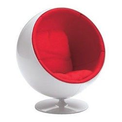 Vitra - Miniature Ball Chair by Vitra - In the 1960s, Eero Aarnio was one of the most playful embracers of new plastic technology, as is evidenced by his Ball Chair (1965). Its space capsule-inspired shell--round and glossily austere--rotates to reveal a cozy, plushly upholstered interior. This futuristic chair is shrunk and copied down to the last detail in the Vitra Miniature Ball Chair. And yes, it does still spin. Founded in Switzerland in 1950, Vitra produces intelligent and inspiring furniture and accessories for the home, office and other public spaces. Ever mindful of the importance of sustainability in design, Vitra creates furnishings with high quality and versatile style that ensures functional and aesthetic enjoyment for the long term.