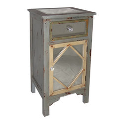 Cheung's - Wood Cabinet With Single Mirrored Door, Mirrored Drawer And Mirrored Table Top - Knobs Inserted on reverse Side of the drawer to prevent impact damage. Beautiful Faux Crystal Knobs. 4 feet. Mirrored Drawer, Mirrored top, mirrored Door