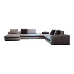 Zuri Furniture - Beige Comodo Sectional Sofa - Right Chaise - Large and luxurious, the Comodo sectional sofa is perfect for entertaining multiple guests. The modern low-profile upholstered sectional is offers generous and comfortable seating with goose down filling, and is paired with coordinating chaise and ottoman.