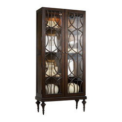 Silver Nest - Circular Trim Display Cabinet - Elegance and symmetry reach a new level of sophistication in the Adaira Display Cabinet featuring delicate wood trim on its glass doors.