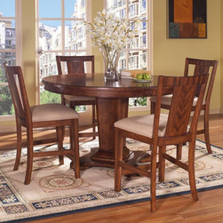 Somerton Dwelling - Somerton Dwelling Runway 5 piece Counter Height Dining Table Set Multicolor - SO - Shop for Bar and Pub Tables with Stools from Hayneedle.com! Zebrano veneers add a unique element that draws the eye to the Somerton Dwelling Runway 5 pc. Counter Height Dining Table Set. This gorgeous counter-height dining set includes a table and four counter chairs all built from hardwood solids with veneers and finished in warm chestnut. The oatmeal poly/cotton blend fabric upholstery provides a beautiful contrast enhancing this dining set's contemporary style. Complete your dining room with a Runway china cabinet or server (sold separately).About Somerton DwellingFor over 20 years Somerton Dwelling has meant quality furniture and a quality company. Its warehouses and distribution centers located both in the United States and China provide environmentally friendly manufacturing locations as well as mindful employment spaces. Quality materials such as eco-friendly rubberwood solid wood and wood veneers are used to create Somerton Dwelling pieces ... and any Somerton Dwelling furnishing you choose will make a welcome stylish addition to your home.