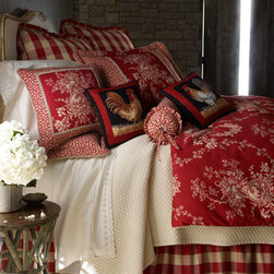 """Horchow - LEFT RYL ROOSTER GRY PLW - Charm and comfort. Red and ivory """"French Country"""" comforter sets include toile comforter, coordinating pieced shams adorned with gimp and cording, and gathered buffalo-check dust skirt with 18"""" drop. Coordinating European shams and accent pillows are al..."""