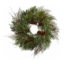 "Winward Designs - Cedar Pine Mix Wreath 24"" - A perfect holiday wreath for the decorator who wishes to say a subtle ""Merry Christmas"" without decking the halls in all that's red and sparkles. Faux foliage."