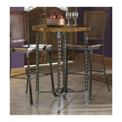 """Riverside Furniture - Medley 3 Piece Marble Top Pub Table Set in Camden - Meet Medley, a collection with a unique personality that is full of possibilities. Hospitality will be at its height in your home with the inviting charm of the Medley Marble Top Pub Table Set in Camden. Four shapely twisted metal legs are joined by the unique design of interlocking metal stretchers, to give you a stylish and inviting table you and your guests can enjoy. Features: -Camden finish. -Pub Table constructed of a marble marquetry top with metal legs and stretchers has base levelers. -Bar Stool constructed of Mindi veneers and composition wood elements has a shaped back frame with woven-look panel is constructed of man-made materials, seat height of 30"""", and in lightly distressed wood finish."""