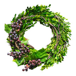 The Firefly Garden - Boxwood in Napa - Illuminated Floral Design - A verdant green wreath, Boxwood in Napa features boxwood accented with ripe vineyard grapes sparkling with white lights that are battery operated.