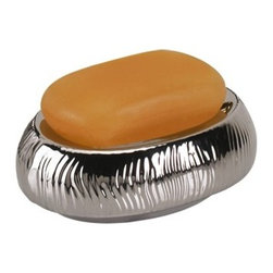 Gedy - Round Silver or Gold Pottery Soap Holder, Gold - Decorative, round silver or gold countertop or vanity soap holder.