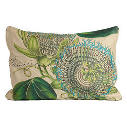 Blue Passion Flower Pillow - Like a beautiful botanical print, the details in this Blue Passion Flower linen pillow are truly amazing.  Vivid colors bring this pillow to life!
