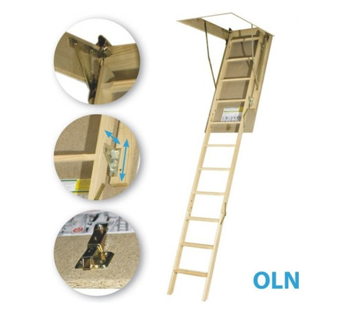 Fakro - LWN (OLN) 25x47 Wooden Basic Attic Ladder 250 lb... - LWN (OLN) 25x47 Wooden Basic Attic Ladder 250 lb...