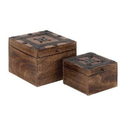 "Benzara - Wood Metal Box with Cube-Shaped Design - Wood Metal Box with Cube-Shaped Design. A beautiful combination of style and elegance, the wood metal box set of 2 8"", 6""W set of two is designed to adorn different decor settings. It comes with the following dimensions 8""W x 8""D x 6""H. 6""W x 6""D x 4""H."